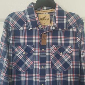 NWT Men's button down plaid shirt XL Hollister